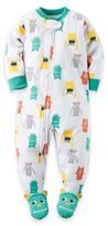 Carter's Size 2T Monster Zip-Front Footed Pajama in White