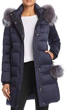 Maximilian Furs Fox Fur Trim Down Coat - 100% Exclusive