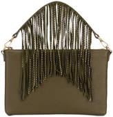 Pinko logo embossed fringe clutch bag