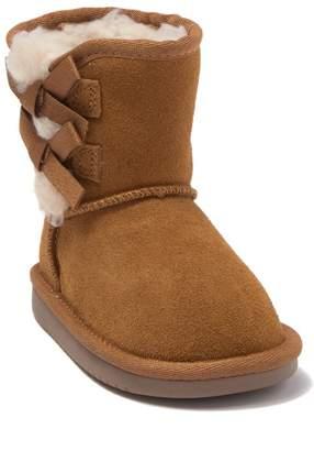 Koolaburra BY UGG Victoria Bow Faux Fur & Genuine Sheepskin Trimmed Short Boot (Toddler)