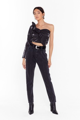 Nasty Gal Womens She Seams Like Trouble Denim Mom Jeans - Black - 8