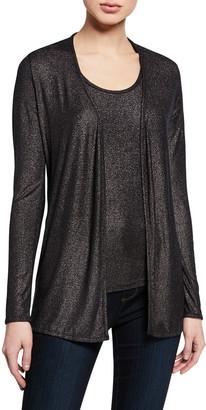 Majestic Filatures Metallic Open-Front Long-Sleeve Cardigan