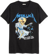 H&M T-shirt with Printed Design - Black/Metallica - Men