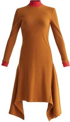 Paisie Turtleneck Ribbed Dress With Handkerchief Hem & Contrasting Collar In Camel & Red