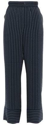 Ganni Lynch Pinstriped Silk-blend Seersucker Wide-leg Pants