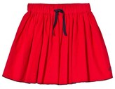 Petit Bateau Red Fine Cord Skirt with Navy Trim