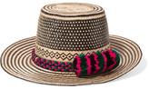 Yosuzi Pompom-embellished Woven Straw Sunhat - Black