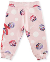 Kenzo Allover Floral Sweatpants, Light Pink, Size 12-18M