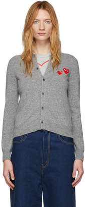 Comme des Garcons Grey Wool Double Heart Patch Cardigan