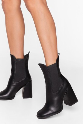 Nasty Gal Womens Living the High Life Faux Leather Heeled Boots - Black
