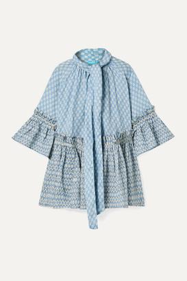 Yvonne S Angelica Ruffled Printed Linen Tunic - Light blue