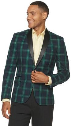 Billy London Men's Plaid Slim-Fit Evening Jacket
