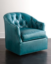 Horchow Rae St. Clair Peacock Blue Swivel Chair