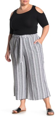 Caslon Striped Linen Blend Crop Pants (Plus Size)