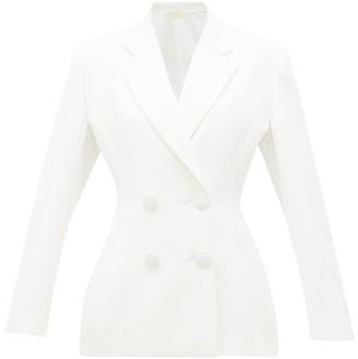 Sara Battaglia Double-breasted Satin Jacket - Womens - White