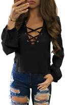 XWDA Womens Long Sleeve Shirt Sexy Lace Up Blouse Loose Casual Tops