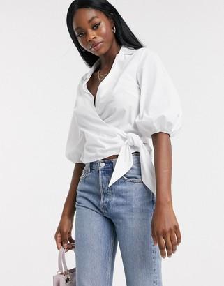 Miss Selfridge cotton wrap shirt in white
