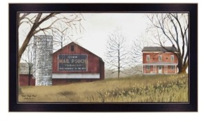 "Trendy Décor 4U Mail Pouch Barn By Billy Jacobs, Printed Wall Art, Ready to hang, Black Frame, 30"" x 16"""