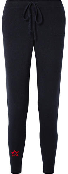 Chinti and Parker Cashmere Track Pants - Midnight blue