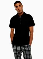 TopmanTopman Black Zip Short Sleeve Polo