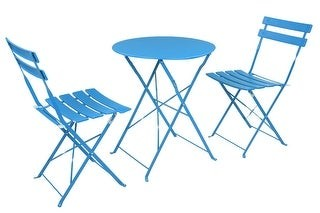 Overstock 3-Piece Outdoor Folding Chair And Table Set Red/Blue