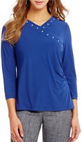 Jones New York V-Neck Cross Front Stud Trim Side Shirred Knit Top