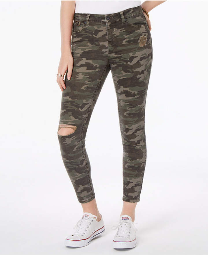 Vanilla Star Juniors' Ripped Printed Denim Skinny Jeans