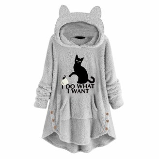 Lazzboy Women Lazzboy Pullover Womens Tops Hooded with Cat Ear Solid Teddy Fleece Flannel Slogan Letters Print Irregular Hem Shirt Blouse Plus Size Jumper Pajamas Coat