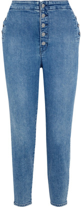 J Brand Natasha Cropped Button-detailed High-rise Skinny Jeans