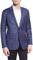 Giorgio Armani Tonal Windowpane Virgin Wool Two-Button Sport Coat, Light Blue