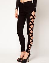Asos Skinny Jean with Lattice in Black