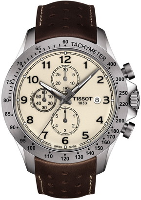Tissot Men's V8 Automatic Leather Strap Watch, 45mm