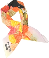 Moschino Boutique Pink and Multicolor Olive Oyl Cartoon & Roses Printed Crepe Silk Square Scarf