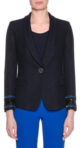 Giorgio Armani One-Button Herringbone Jacquard Wool-Blend Jacket w/ Velvet Cuff