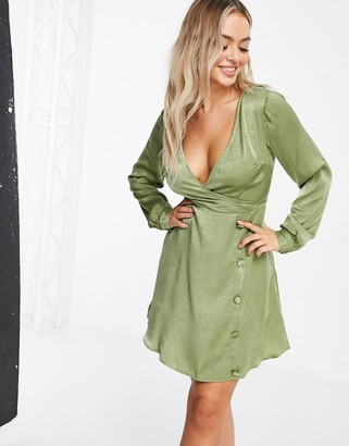NaaNaa wrap-front long sleeve satin dress in khaki