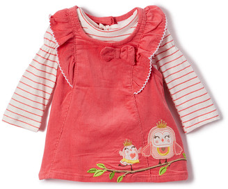 Nannette Kids Girls' Casual Dresses CORAL - Coral Mama and Baby Bird Corduroy Jumper Set - Girls