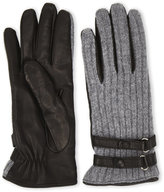 lab srl Leather and Wool Strappy Gloves