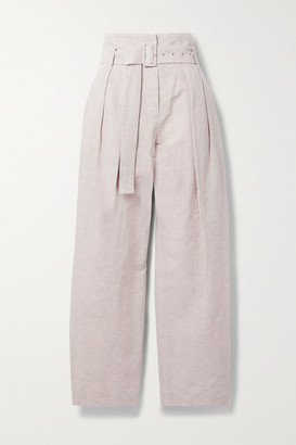 Low Classic Belted Pleated Cotton And Linen-blend Wide-leg Pants - Lilac