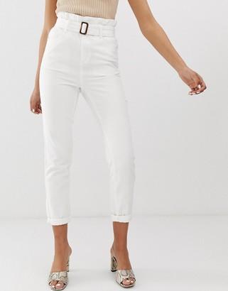 Fae FAE paperbag buckle waist mom jeans