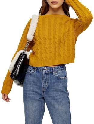 Topshop PETITE Mini Cable-Knit Crop Sweater