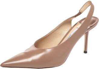 Jimmy Choo Beige Leather Ivy Pointed Toe Slingback Sandals Size 37.5