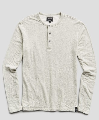 Todd Snyder Double knit Henley in Light Grey