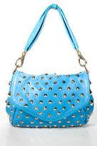 Be And D Blue Leather Gold Tone Studded Hidden Magnet Closure Shoulder Handbag