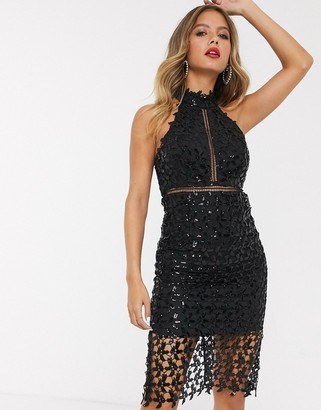 Bardot high neck lace midi dress in black sequin