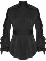 Ellery Audacity Ruffle-trimmed Stretch-silk Blouse - Black