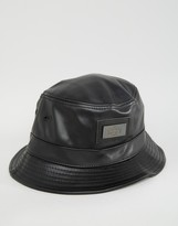 Criminal Damage Leather Look Bucket Hat