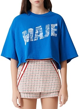 Maje Tike Oversized Cropped Graphic Print Tee