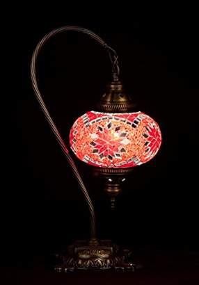 Red Handmade Turkish Lamp Moroccan Ottoman Style Mosaic Swan Neck Desk Table Light Bedroom Restaurant Cafe Decoration Light Size 3