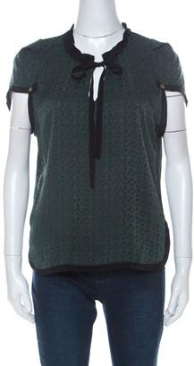 Louis Vuitton Green Monogram Embossed Silk Tie Neck Short Sleeve Top M