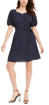 Monteau Petite Printed Puff-Sleeve Dress